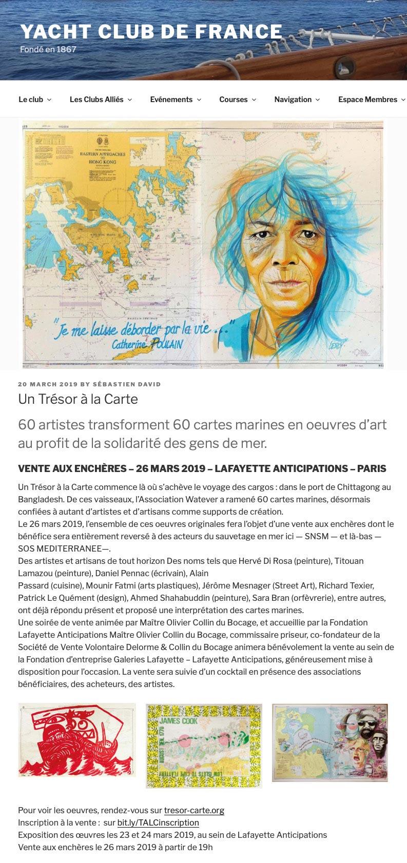 Yacht Club De France - Christian LEROY - Vente caritative Watever